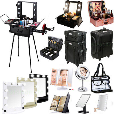 Professional Makeup Case Box w Light / Cosmetic Bag / LED Lighted Make UP Mirror