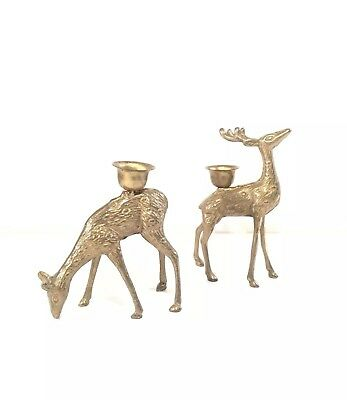 Vintage Pair Gold Brass Decorative Christmas Reindeer Figurine Candle Holders
