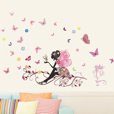 Fairy Butterfly Colorful Flower Girl Wall Sticker Art Decal Home Kid Room  New.
