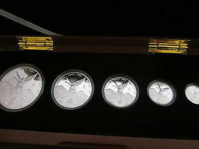 2011 Libertad 999 silver 5 proof coin set in presentation box.
