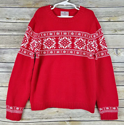 Hanna Andersson Red and White Nordic Snowflake Winter Sweater, Size 140 10 Yrs