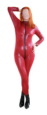 Catsuit Latexstyle - Glanzcatsuit - schwarz/rot - Latexcatsuit Style - Gr. S - L