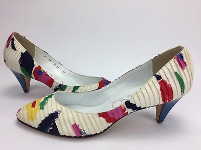 Vintage Shoes Amano Heels Size 8 Pumps Multi Color Colorful 80's Retro Pleated