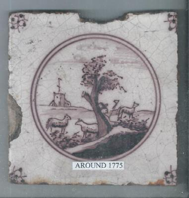 Antique Dutch Delft Tile Around 1775