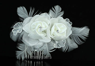 Bridal Wedding Fascinator White Feather Rose Handmade Hair Comb AT1385
