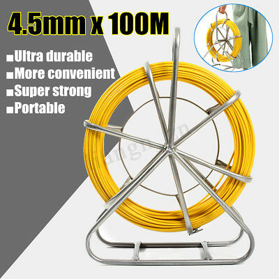6mm x 130M Fiberglass Cable Snake Electricians Duct Rodder Puller T0111 AU