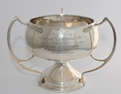 409g - 1914 Sterling Silver 3 Handle Loving Cup/Table Centre Piece - Royal Navy