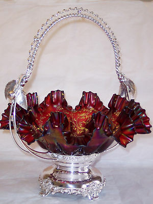 Derby Brides Basket With Cranberry Enameled Glass Bowl - Figural Fruit Large