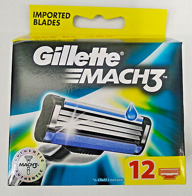 Gillette Mach3 Pack of 12 Cartridges Men's Shaving Blades For Razor - Mach 3 New