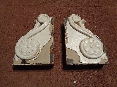 pair architectural salvage chippy painted wood brackets corbels vintage antique