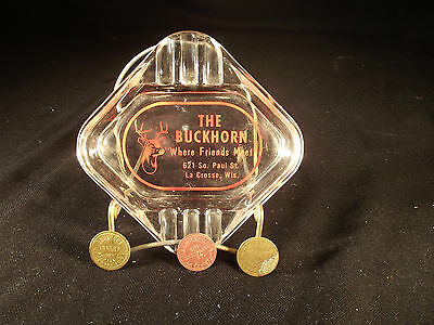 The Buckhorn Tavern La Crosse Wisconsin WI Wisc. Ashtray AND 3 Drink Tokens -LOT