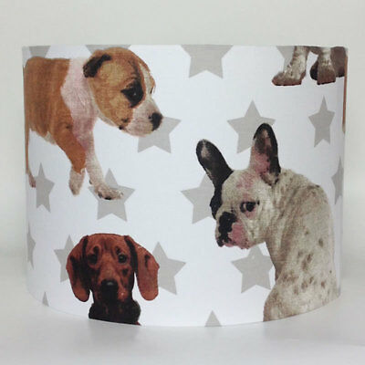 Dog Friends and Stars Large Fabric Light Shade