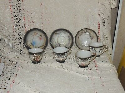 Asstd Vint. Japan Lithopane Dragonware Demi Cups & Saucer * with1 Etched Geisha*