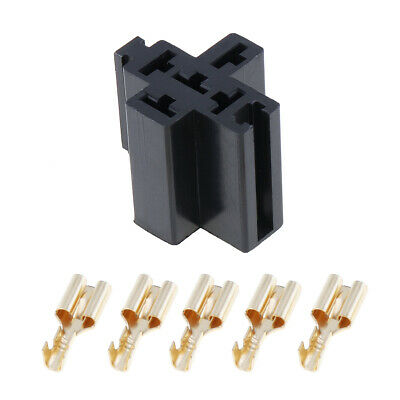 6.3mm Car Vehicle 5 Pin Relay Socket Connector Holder with 5pcs Copper Terminal