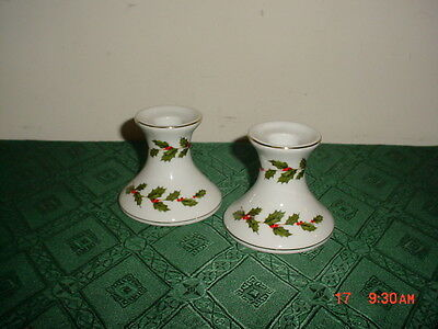 """2-Pc Lefton China Christmas """"holly-Berries"""" 3 1/8"""" Candlesticks/05251/clearance!"""