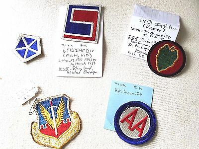 World War 2 Lot of 5 US MILITARY CLOTH PATCHES  Infantry Anti-Aircraft Air Force