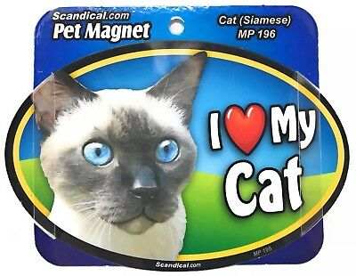I LOVE MY CAT MAGNET Siamese, Cats, Gifts, Cars, Trucks. Lockers  Scandical
