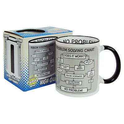 Problem Solving Chart Mug. Funny Tea Coffee Comedy Cup Kitchen Home Office Gift