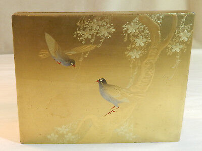Japanese Lacquer Box with 2 Birds in a Tree on the Cover, c. 1895