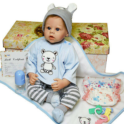 "22"" Lifelike Realistic Reborn Vinyl Handmade Baby Boy Doll Bottle Nappy"