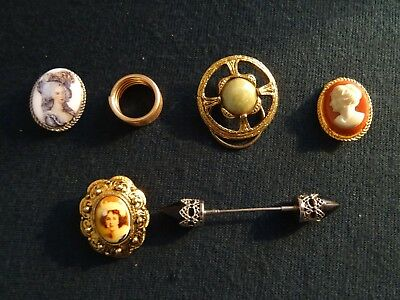 Mixed Lot Six Assorted Vintage Costume Jewellery Scarf Clips/rings