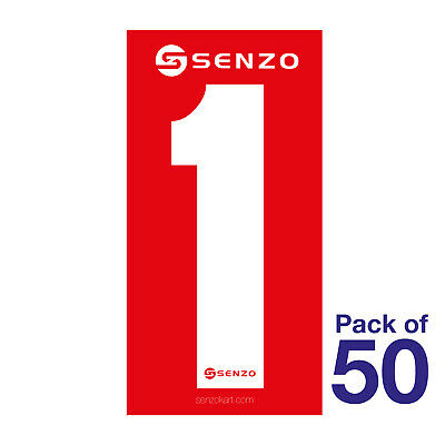 1 Number Pack of 50 White on Red Senzo