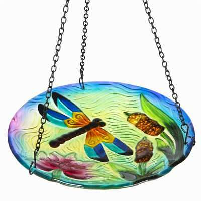 Winsome House Dragonfly Hanging Bird Bath WH117 Glass Iron