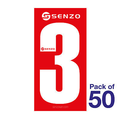 3 Number Pack of 50 White on Red Senzo