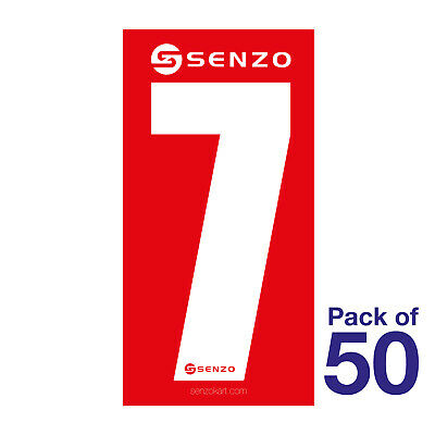 7 Number Pack of 50 White on Red Senzo