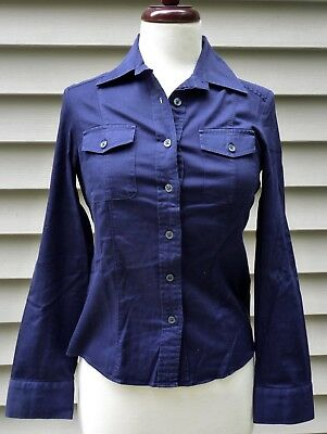 Women's BANANA REPUBLIC Button Down Navy Blue Tailored Shirt Top, X-Small