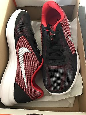 Nike Revolution 3 GS 819413-600 Black Red White Kids Running Shoes Size 4  Youth
