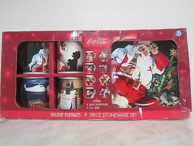 Coca-Cola Holiday Portraits 8 Piece Stoneware Set Style # MW178X8DS