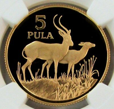 1986 Gold Botswana 5 Pula Red Lechwes Ngc Proof 69 Ultra Cameo