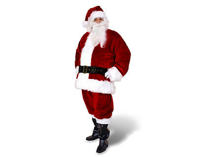 New Professional Fully Lined Santa Claus Christmas Xmas Crimson Red Costume Suit