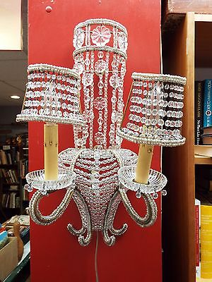 Vintage Heavily Beaded French  Empire Style Crystal Wall Sconce Light Fixture Nr