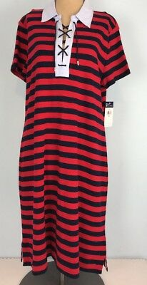 76274892d0c4 Chaps Sailor Bay Striped T-shirt Dress Red Blue Laced Collar XL MSRP $69.00