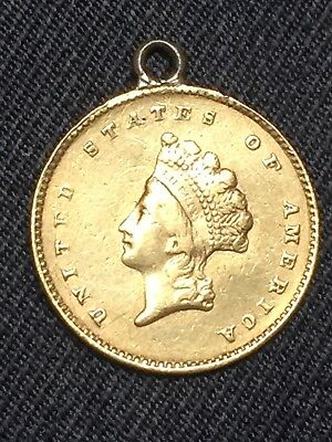 1855 Indian Princess $1 One Dollar Gold Coin Added O Ring