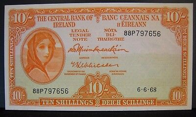 1968 Ireland, Central Bank of, 10 Shillings Uncirculated ** FREE U.S SHIPPING **
