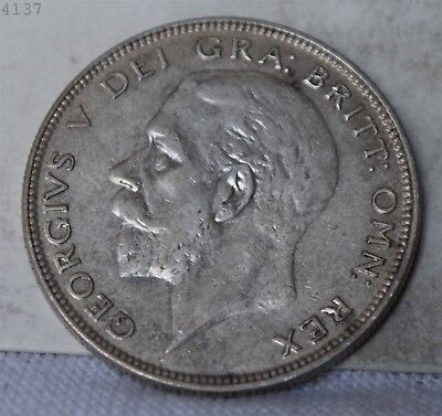 "1928 *Silver* Great Britain 1/2 Crown ""AU"" *Free S/H After 1st Item*"