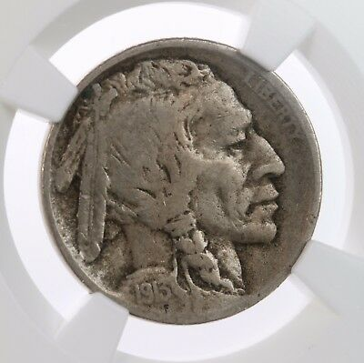 1913-S Buffalo 5C NGC Certified F15 Type 2 T-2 San Francisco Mint US Nickel Coin