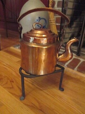 Primitive Hand Forged Iron Kettle Stand Fireplace Hearth Tripod Heart Design