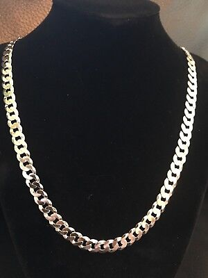 Men's Flat Miami Cuban Link Chain Solid 925 Sterling Silver 8mm Thick Italy Made