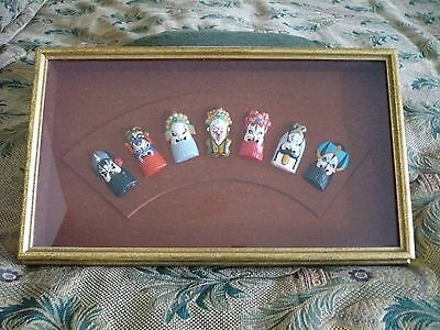 "Chinese Opera Masks (7) in Shadow Box (Each mask is about 2 1/2"" x 1 1/2"" )"