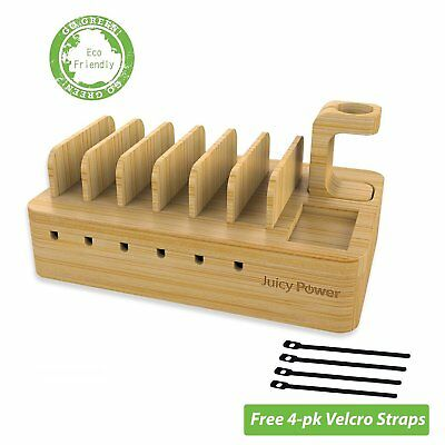 New Bamboo Universal Multi Device Charging Station Power Dock Phone Tablet