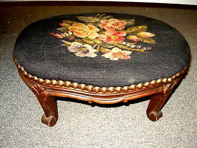Antique French Victorian Tapestry Oval Footstool Carved Wooden Base Fluer-De-Lis