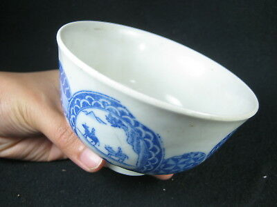 Antique Japanese Ceramic Transfer Print Rice Bowl Chawan