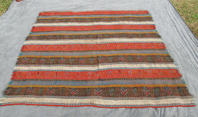 """Antique Hand Woven Primitive South West Striped Coverlet Blanket 70"""" by 70"""" yqz"""