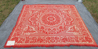 """Antique Mid 19th c Primitive Red & White Woven Jacquard Coverlet 83"""" by 79"""" yqz"""