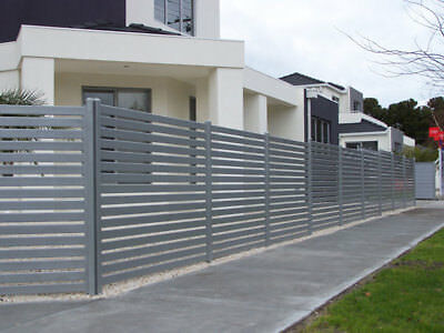 Powder Coated 65x16 Aluminium Slats Fencing DIY Screw System - Silver Black Mill