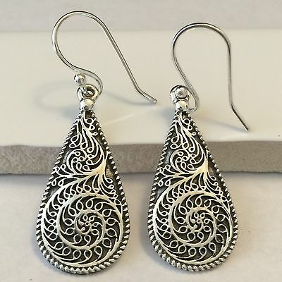 Victorian Intricate Filigree 925 Solid Sterling Silver Dangle Earrings 40mm